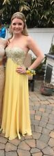 prom dress size 2 jovani yellow rhinestone strapless banquet gown pageant long