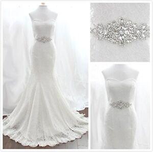 TRLYC Rhinestone Applique With White Ribbon Wedding Sash Wedding Dressing Belt