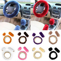 Plush Woolen Steering Wheel Cover Car Soft Wool  3Pieces/Set Handbrake Case