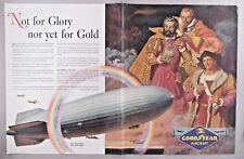 Good Year Aircraft Centerfold PRINT AD - 1944 ~~ blimp, Dean Cornwell art
