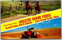 2 Greater Grand Forks ND MN North Dakota Farm Greeting Old Vintage Postcard B5