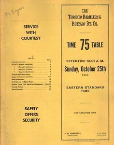 VINTAGE TORONTO HAMILTON & BUFFALO RY CO. TIME TABLE NO. 75 1964