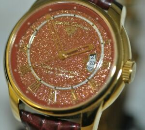 Men's Swiss Legend Gold Sandstone Dial Swiss Automatic Burgundy Leather Watch
