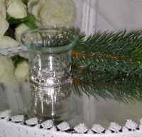 Teelichthalter Windlicht Deko Silber Glas   Landhaus Nostalgie Shabby Vintage