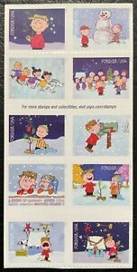2015 Scott #5021-30, Forever, CHARLIE BROWN CHRISTMAS - Block of 10 Stamps MNH