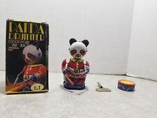 NIB Collectible Vintage Panda Drummer Clock Work Amusing Gay Wind UP Tin Toy
