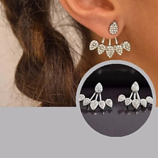 Pear Drop Crystal Silver Stud Earring Ear Jackets STUNNING EARRINGS UK SELLER