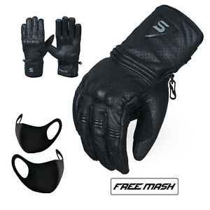 Leather Motorbike Motorcycle Gloves Knuckle Protection Thermal Warm Winter Glove