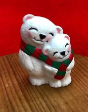 Hallmark Merry Miniatures - Polar Bears in Scarf - Mom + Child Bear Dated 1994