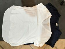 Cloth and Stone Womens v-neck blouse bundle set of two: 1 Navy, 1: White