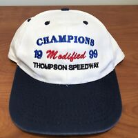 Thompson Speedway Hat Snapback Cap White Vintage 90s Modified Racing Auto USA