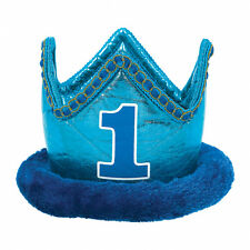 "FIRST 1ST BIRTHDAY PARTY BABY BOYS BLUE FABRIC METALLIC 7"" CROWN PRINCE HAT 1 YR"