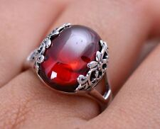 8CT natural garnet S925 sterling silver ring Size 6 Love Heart Gift Mom Her-RG58