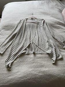 Lovely Fat Face Open Front White Grey Stripe Light Cardigan Size 10 Summer BNWOT
