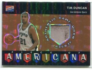 2003-04 Bazooka Piece of Americana Parallel TD Tim Duncan Patch 14/25 DAMAGED