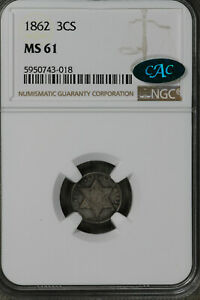 Nice Uncirculated 1861 Three Cent Silver!!  NGC MS61CAC!!