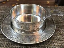 Antique William Kerr Sterling Silver Baby Childs Bowl & Plate Nursery Rhymes