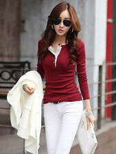 Fashion Women's Slim Chiffon Tops Long Sleeve Shirt Casual Blouse Tee Spring