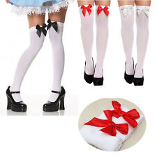 Ladies White Stockings Socks With Red Bow Hold Up Over the Knee Christmas Party