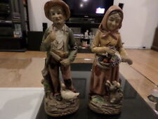 "Vintage Homco Home Interiors Japan Bisque 8"" Farmer and Wife Figurines No. 1417"