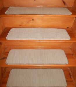 "14 = STEP  9"" X 30"" + 1 Landing 27"" x 30""  Stair Treads Tufted Wool Carpet  ."