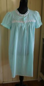 vintage negligee nightie aqua blue nylon DIAMOND CUT s 12