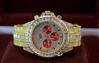 Men Gold Iced Watch Bling Rapper Simulate Diamond Metal Band Luxury Cubic RED