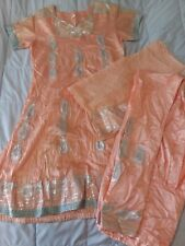 3 Piece Peach Colored Silk Indian Womens Salwar Kameez/Churidar Set/Suit XS