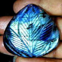 76.00Cts100%Natural Blue Labradorite Leaf Carving  Heart Cab+ Gemstone