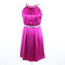 Fuchsia pink silk satin BADGLEY MISCHKA sleeveless beaded trim sheath dress 4