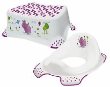 Happy Friends Hippo Child Toilet Training Seat & Step Stool Combo (White)
