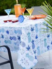 Nappe en toile cirée rectangulaire 140X250 cm Exotic ananas bleu