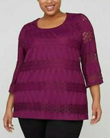 Womens Plus Size 3X 4x 26/28 lace 3/4 Long Sleeves Party Blouse Top Catherines