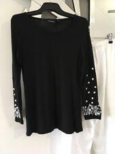 YARRA TRAIL  Black White Long Sleeve Sheer Stretch Top Blouse M 10 12 BNWOT