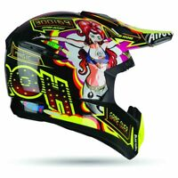CASCO HELMET MOTO CROSS ENDURO AIROH SWITCH FLIPPER NERO GIALLO FLUO TG S