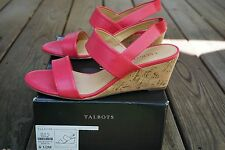 "TALBOTS NIB $139 ""ROYCE"" HOT FUSCHIA LEATHER SLINGBACK 2 1/2"" CORK WEDGES SZ 9.5"