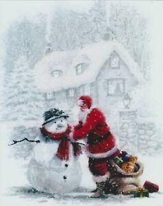 8x10 Art Print Father Christmas Day Winter Snow SANTA & SNOWMAN Sack Presents
