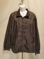 New CALVIN KLEIN JEANS Men's XXL 2XL Gray Windbreaker Zip Up Lightweight Jacket