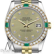 Ladies Rolex 26mm Datejust 2 Tone Champagne Color Diamond Emerald Dial Watch