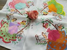 STUNNING Vintage Hand Embroidered Tablecloth with Crinoline Ladies