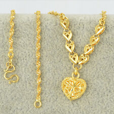 24K Yellow Gold Filled Womens Charms Heart Pendants Water Wave Chain Necklace