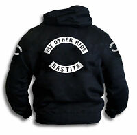 Funny Rude Biker Patch Motorcycle My Other Ride Has-Tits Mens Hoodie Sm 2XL