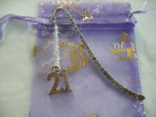 21st birthday number beaded tibetan silver handmade bookmark party gift favour