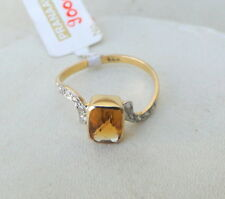 14 K SOLID GOLD CITRINE & DIAMOND GEMSTONE RING INDIA
