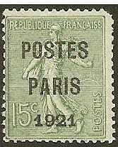"FRANCE PREO 28""SEMEUSE POSTES PARIS 1921"" NEUF (x) TTB"