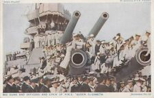 """NAVAL : Big Guns and Officers and Crew of H.M.S.""""QUEEN ELIZABETH""""  - PHOTOCHROM"""