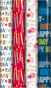 4 Rolls x 3m Gift Wrapping Paper Male Female Happy Birthday Candle Balloon 29001