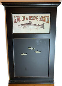 """""""Gone on a Fishing Mission"""" magnetic memo board with 3 trout magnets"""