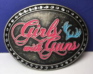 Montana Silversmiths GIRLS WITH GUNS Cursive Oval Belt Buckle Attitude Buckles