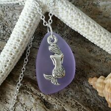 Handmade in Hawaii Purple sea glass necklace jewelry Gift box Mermaid charm